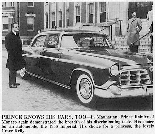 Prince Ranier of Monaco with a 1956 Imperial 4 door Sedan