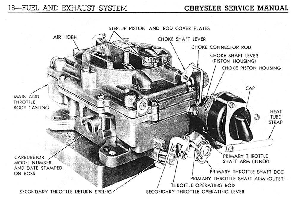 1958 carter carberator repair information for  chrysler
